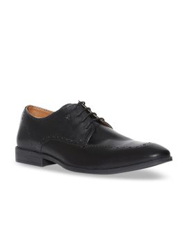 Black Solid Leather Derbys