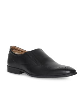 Black Solid Leather Formal Slip-Ons