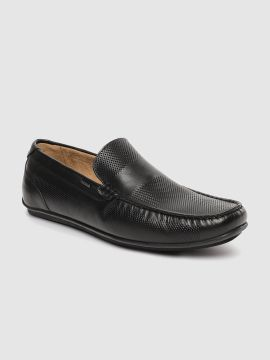 Black Textured Leather Loafers