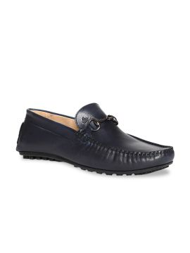 Blue Solid Horsebit Leather Loafers