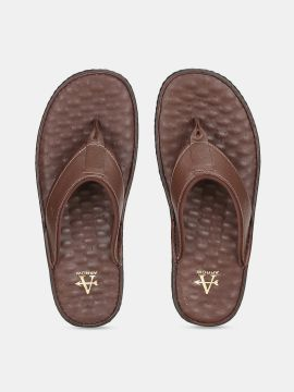 Brown Solid Leather Sandals