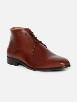 Brown Solid Mid Top Leather Formal Derbys