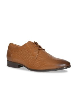 Brown Textured Leather Derbys
