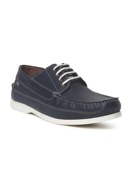 Navy Blue Aiden Leather Sneakers