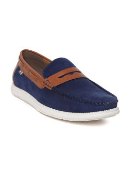 Navy Blue Solid Leather Boat Shoes
