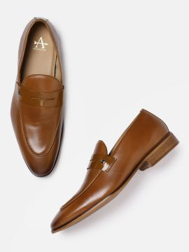 Tan Brown Solid DOVER Leather Formal Loafers