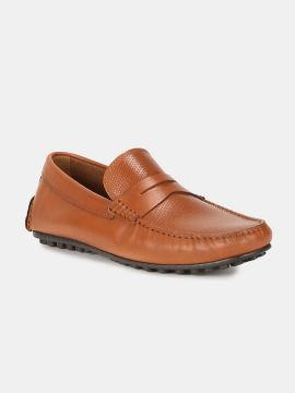 Tan Brown Solid Leather Driving Shoes