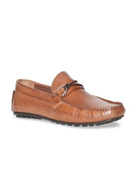Tan Brown Textured Leather Loafers