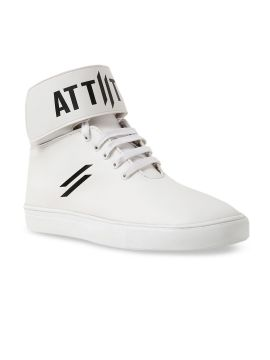 White Printed High-Top Sneakers
