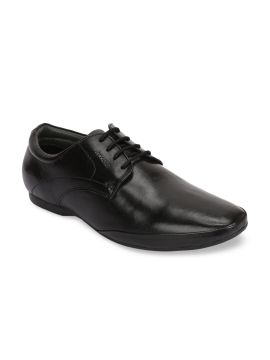 Black Solid Leather Formal Derbys
