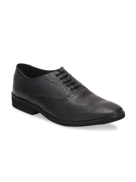 Black Textured Leather Formal Brogues