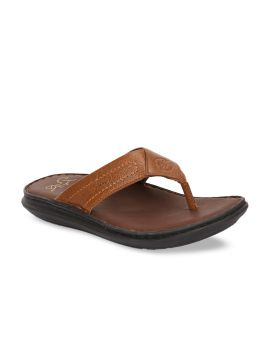Tan Brown Solid Leather Comfort Sandals