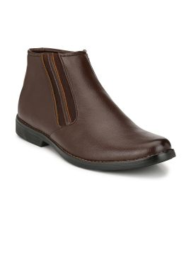 Brown Solid High-Top Flat Boots
