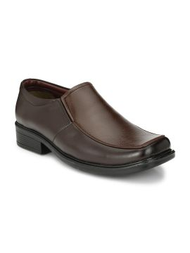 Brown Solid Synthetic Leather Loafers