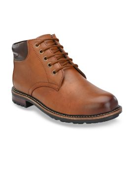 Tan Brown Colourblocked Synthetic Leather Mid-Top Flat Boots