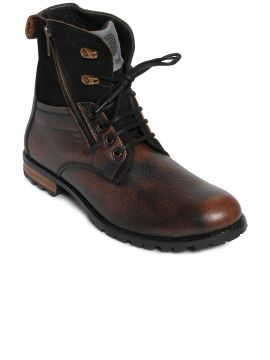 Brown Solid Leather High-Top Flat Boots