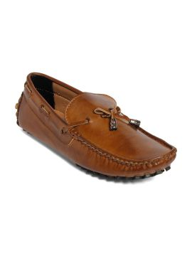 Brown Solid Regular Driving Shoes