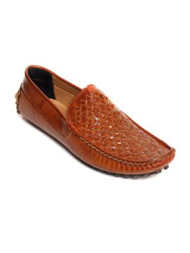 Brown Woven Regular Driving Shoes