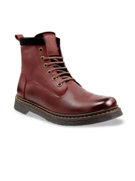 Maroon Solid Leather Mid-Top Flat Boots