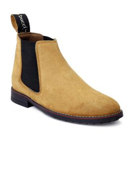 Tan Solid Leather High-Top Flat Boots