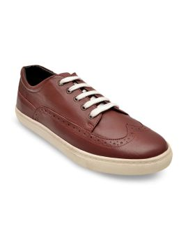 Burgundy Solid Lightweight Leather Brogues