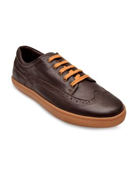 Coffee Brown Solid Lightweight Leather Brogues