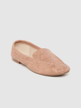 Peach-Coloured Snakeskin-Textured Loafers