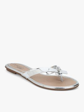 Silver Solid Open Toe Flats
