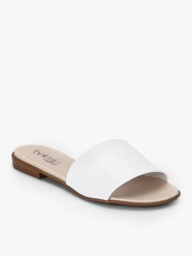 White Solid Synthetic Open Toe Flats