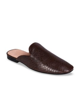 Brown Textured Mules