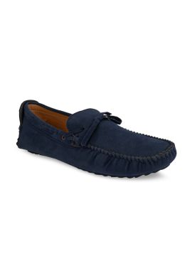 Blue Solid Suede Mid-Top Driving Shoes