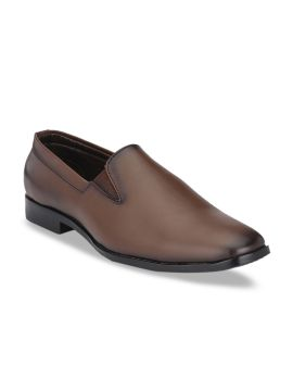 Brown Solid Formal Slip-On Shoes