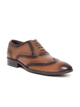 Brown Textured Leather Semiformal Brogues