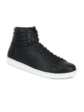 Black Solid Synthetic Mid-Top Sneakers