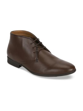 Brown Solid Formal Boots