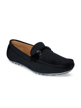 Black Solid Suede Loafers
