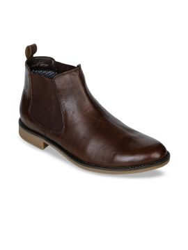 Brown Solid Formal Leather Boots