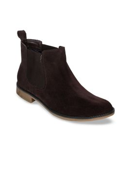 Brown Solid Formal Suede Boots