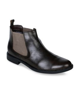 Olive Brown Solid Leather Boots