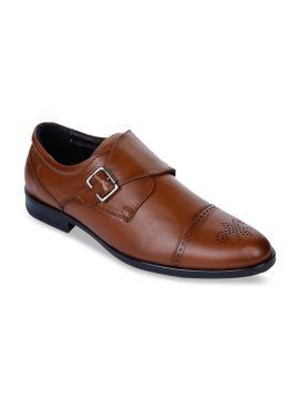 Tan Brown Solid Leather Formal Monks