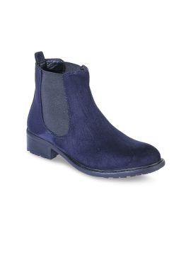 Blue Suede Flat Boots