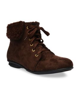 Brown Solid Suede Mid-Top Flat Boots