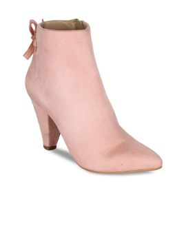 Pink Solid Heeled Boots