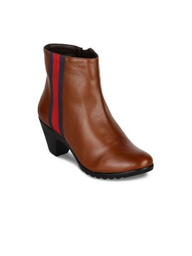 Tan Brown Solid Heeled Boots