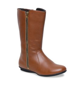Tan Brown Solid High-Top Flat Boots