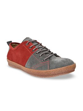 Grey & Red Colourblocked Sneakers