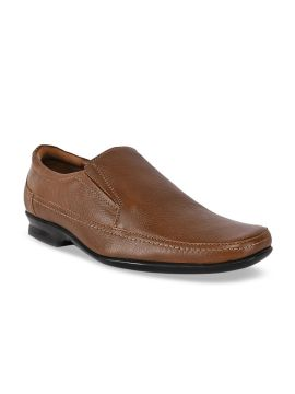 Tan Brown Solid Leather Formal Slip-Ons