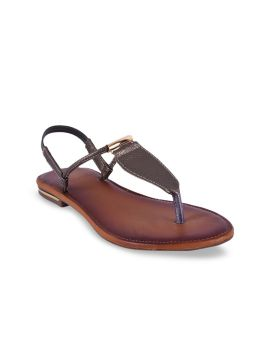 Brown Solid Open Toe Flats