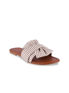 Brown Striped One Toe Flats