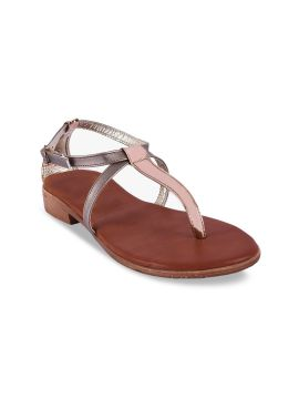 Silver-Toned Solid T-Strap Flats